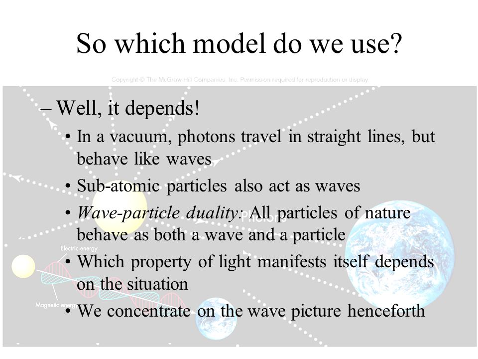 So which model do we use? –Well, it depends! In a vacuum, photons travel in straight lines, but behave like waves Sub-atomic particles also act as wav