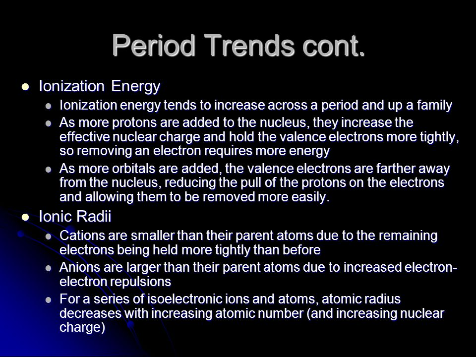 Period Trends cont.