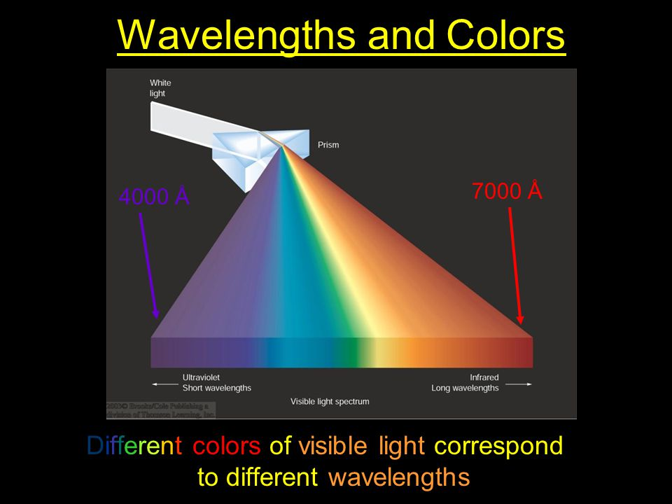 Wavelengths and Colors Different colors of visible light correspond to different wavelengths. 4000 Å 7000 Å