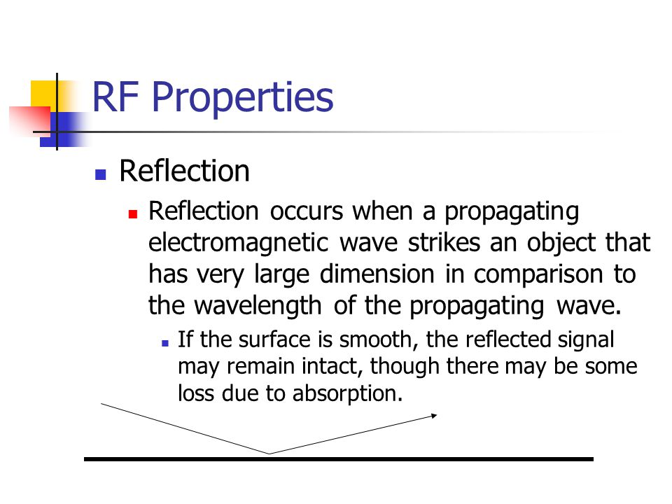RF Properties Reflection Reflection occurs when a propagating electromagnetic wave strikes an object that has very large dimension in comparison to the wavelength of the propagating wave.