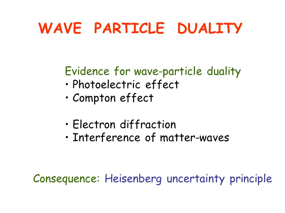 WAVE PARTICLE DUALITY Evidence for wave-particle duality Photoelectric effect Compton effect Electron diffraction Interference of matter-waves Consequence: Heisenberg uncertainty principle