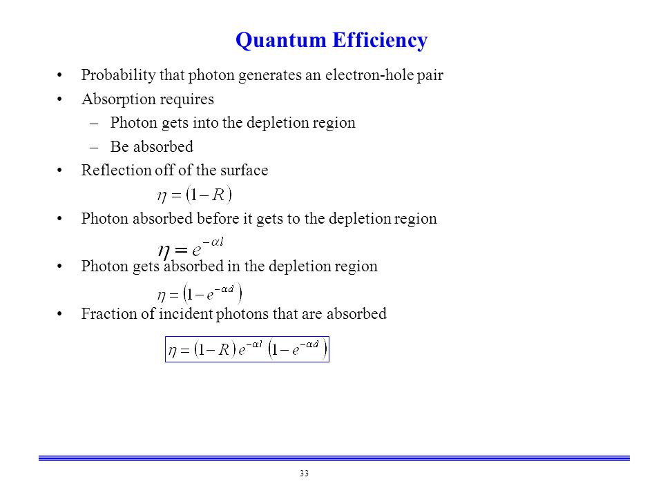 33 Quantum Efficiency Probability that photon generates an electron-hole pair Absorption requires –Photon gets into the depletion region –Be absorbed