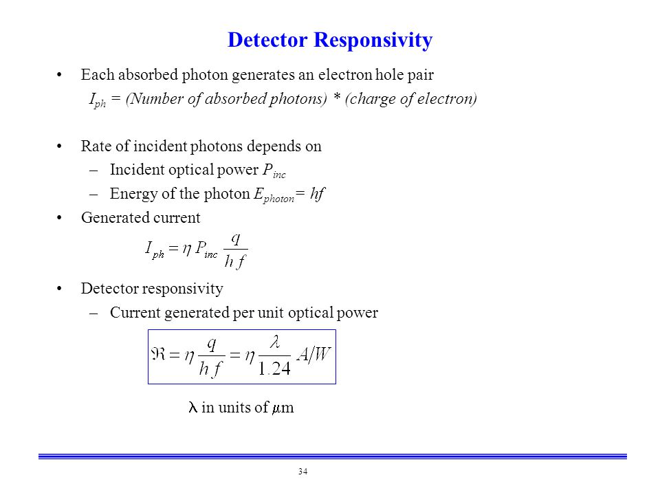 34 Detector Responsivity Each absorbed photon generates an electron hole pair I ph = (Number of absorbed photons) * (charge of electron) Rate of incid