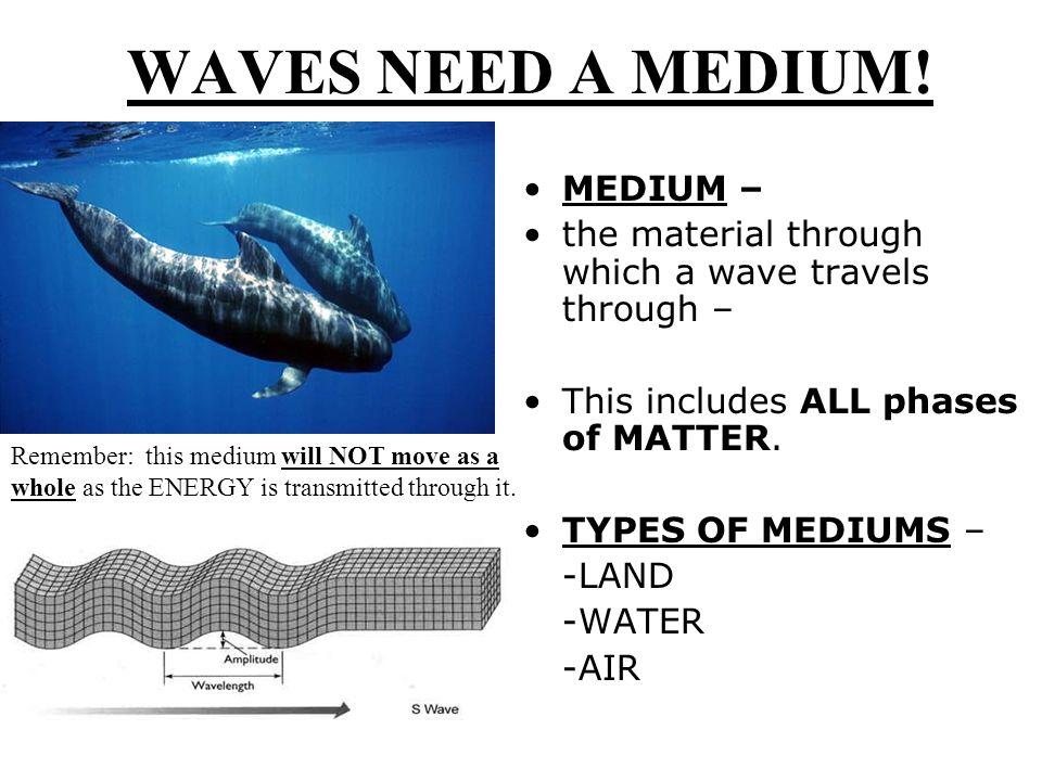 WAVES NEED A MEDIUM.