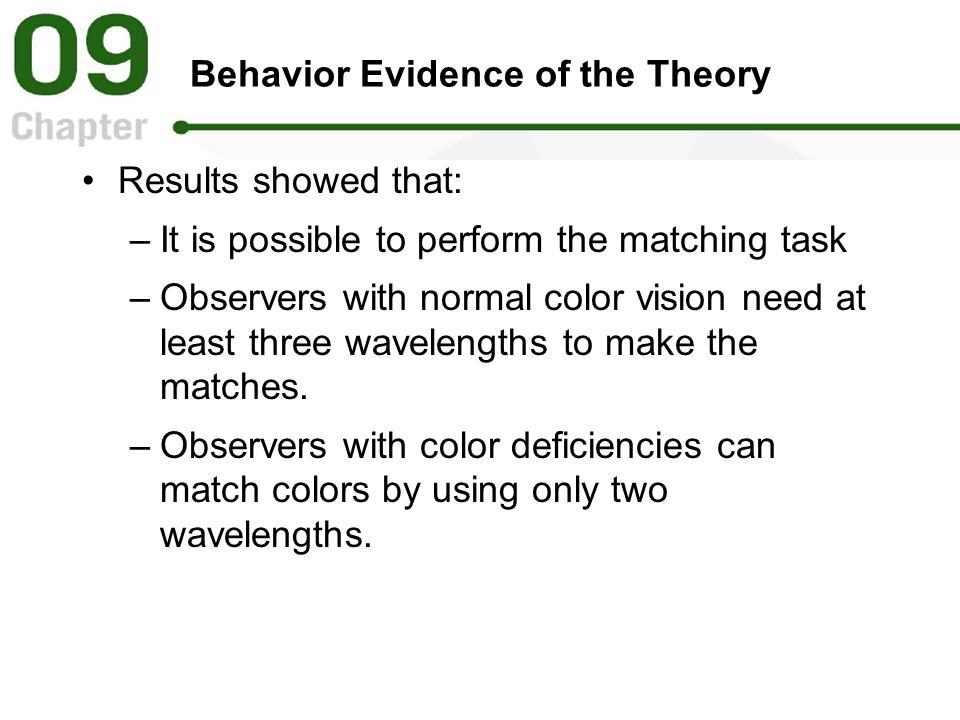 Behavior Evidence of the Theory Results showed that: –It is possible to perform the matching task –Observers with normal color vision need at least th