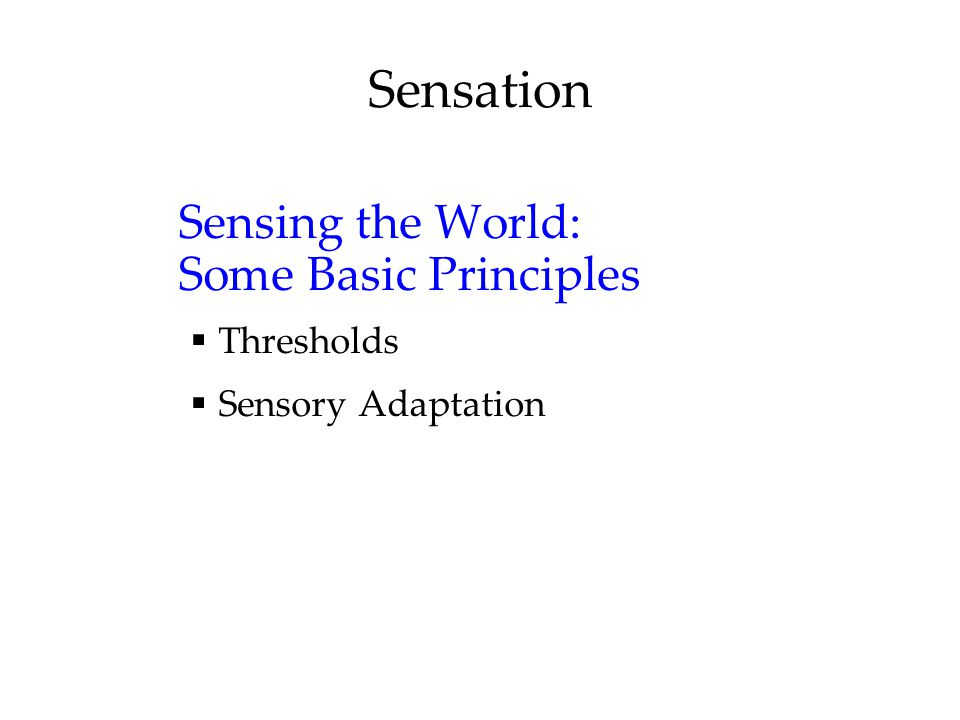 Sensation Sensing the World: Some Basic Principles  Thresholds  Sensory Adaptation