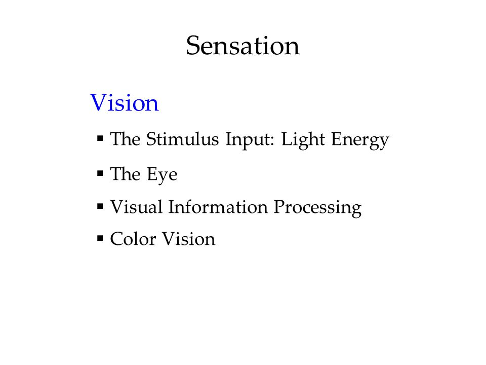 Sensation Vision  The Stimulus Input: Light Energy  The Eye  Visual Information Processing  Color Vision