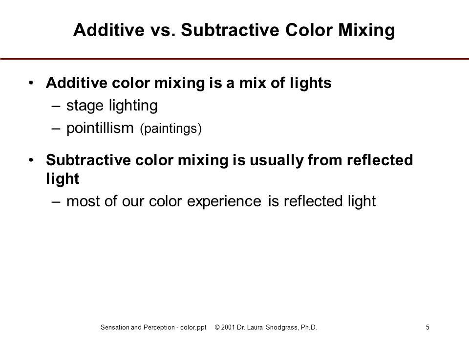 Sensation and Perception - color.ppt © 2001 Dr. Laura Snodgrass, Ph.D.5 Additive vs.