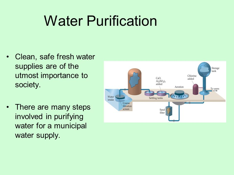 Water Purification Clean, safe fresh water supplies are of the utmost importance to society.