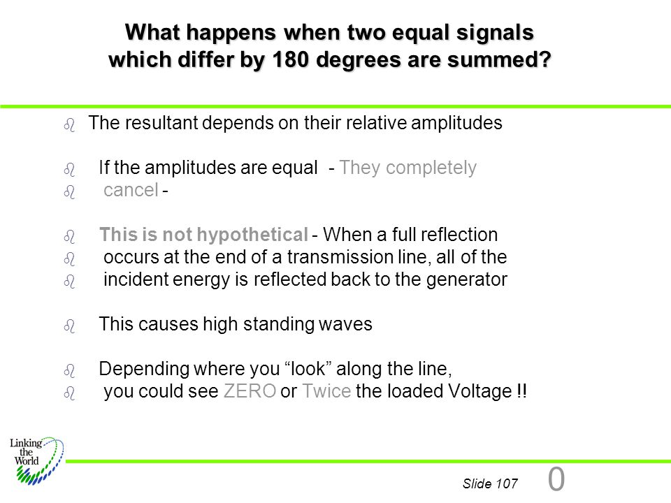 Slide 107 0 What happens when two equal signals which differ by 180 degrees are summed? b b The resultant depends on their relative amplitudes b b If