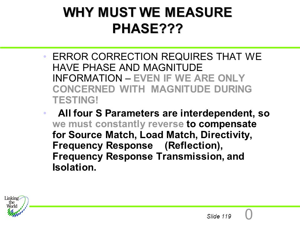 Slide 119 0 WHY MUST WE MEASURE PHASE??? ERROR CORRECTION REQUIRES THAT WE HAVE PHASE AND MAGNITUDE INFORMATION – EVEN IF WE ARE ONLY CONCERNED WITH M