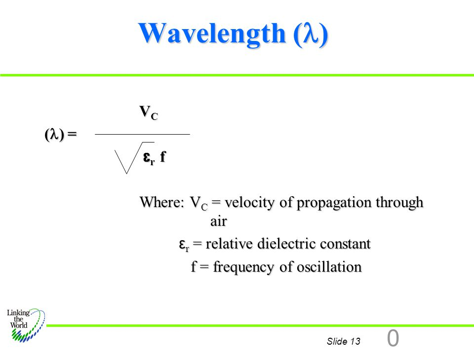 Slide 13 0 Wavelength ( ) V C ( ) = ε r f ε r f Where: V C = velocity of propagation through air ε r = relative dielectric constant ε r = relative die