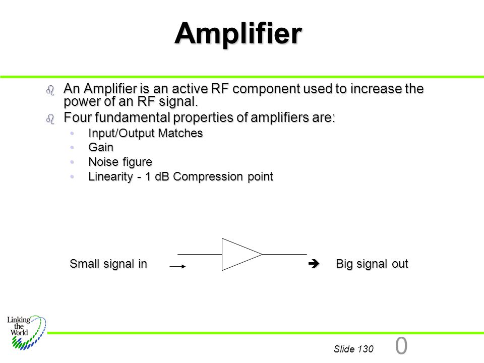 Slide 130 0 Amplifier b An Amplifier is an active RF component used to increase the power of an RF signal. b Four fundamental properties of amplifiers
