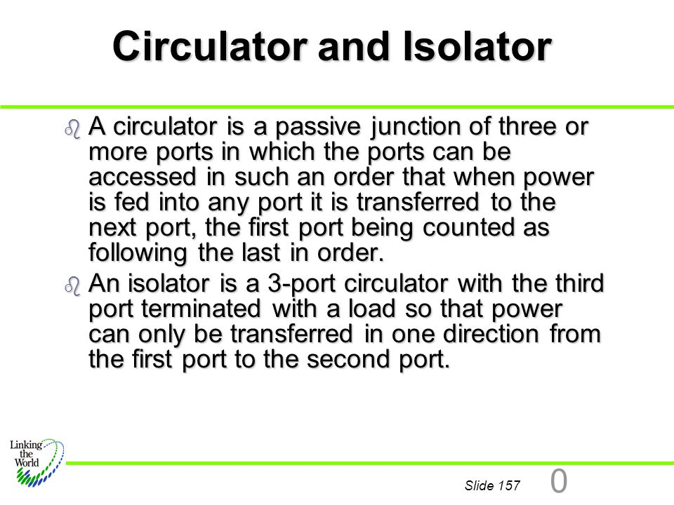 Slide 157 0 Circulator and Isolator b A circulator is a passive junction of three or more ports in which the ports can be accessed in such an order th