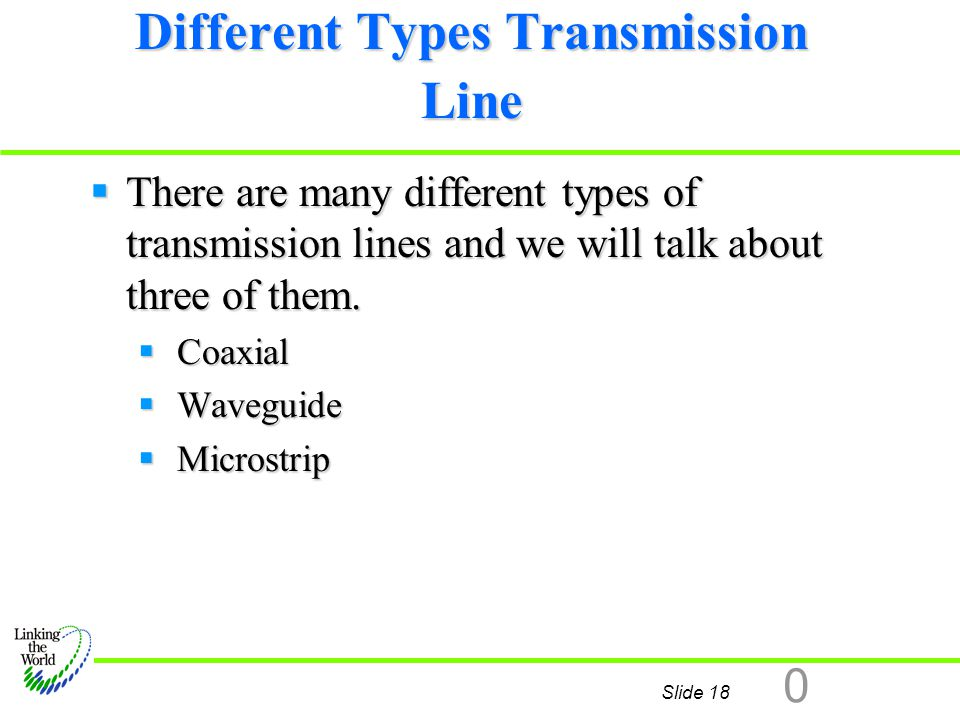 Slide 18 0 Different Types Transmission Line  There are many different types of transmission lines and we will talk about three of them.  Coaxial 