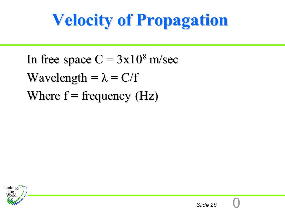 Slide 26 0 Velocity of Propagation In free space C = 3x10 8 m/sec Wavelength = λ = C/f Where f = frequency (Hz) Z