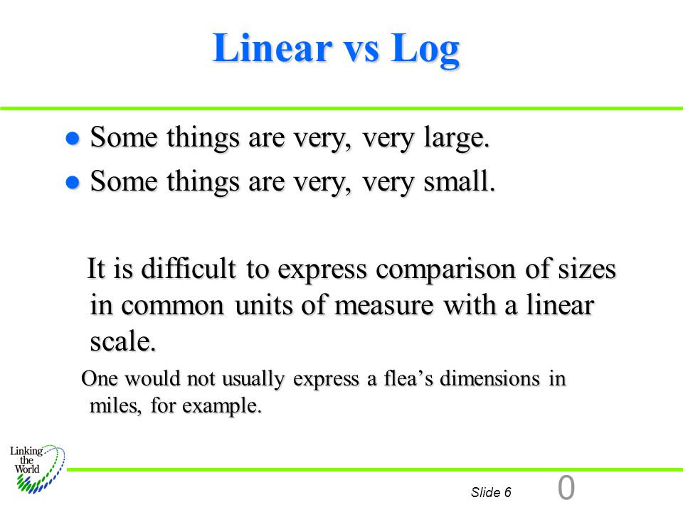 Slide 6 0 Linear vs Log l Some things are very, very large. l Some things are very, very small. It is difficult to express comparison of sizes in comm