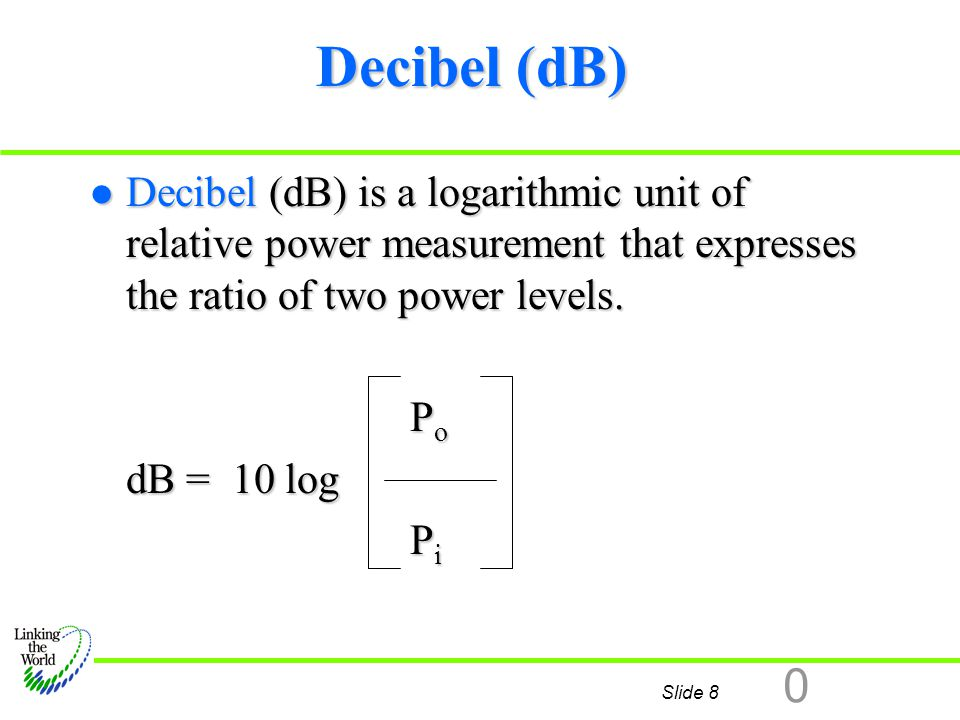 Slide 9 0 dBm l dBm is the decibel value of a signal compared to 1 m w.