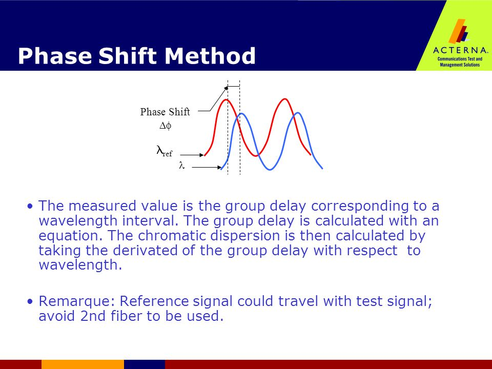 Phase Shift Method The measured value is the group delay corresponding to a wavelength interval.