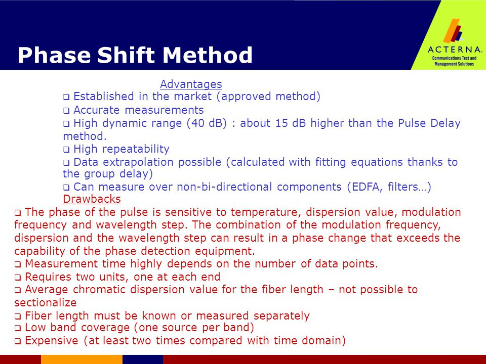 Phase Shift Method Drawbacks  The phase of the pulse is sensitive to temperature, dispersion value, modulation frequency and wavelength step.