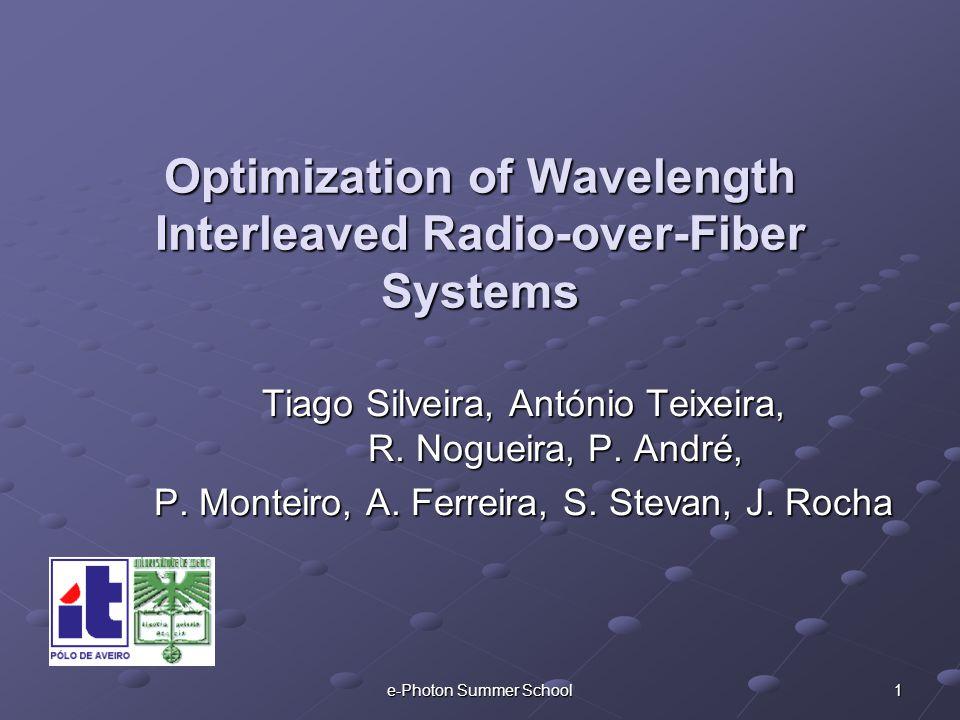e-Photon Summer School 1 Optimization of Wavelength Interleaved Radio-over-Fiber Systems Tiago Silveira, António Teixeira, R.