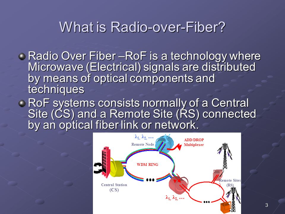 3e-Photon Summer School What is Radio-over-Fiber? Radio Over Fiber –RoF is a technology where Microwave (Electrical) signals are distributed by means