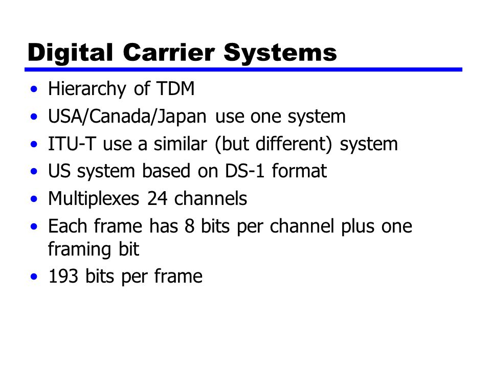 Digital Carrier Systems Hierarchy of TDM USA/Canada/Japan use one system ITU-T use a similar (but different) system US system based on DS-1 format Multiplexes 24 channels Each frame has 8 bits per channel plus one framing bit 193 bits per frame