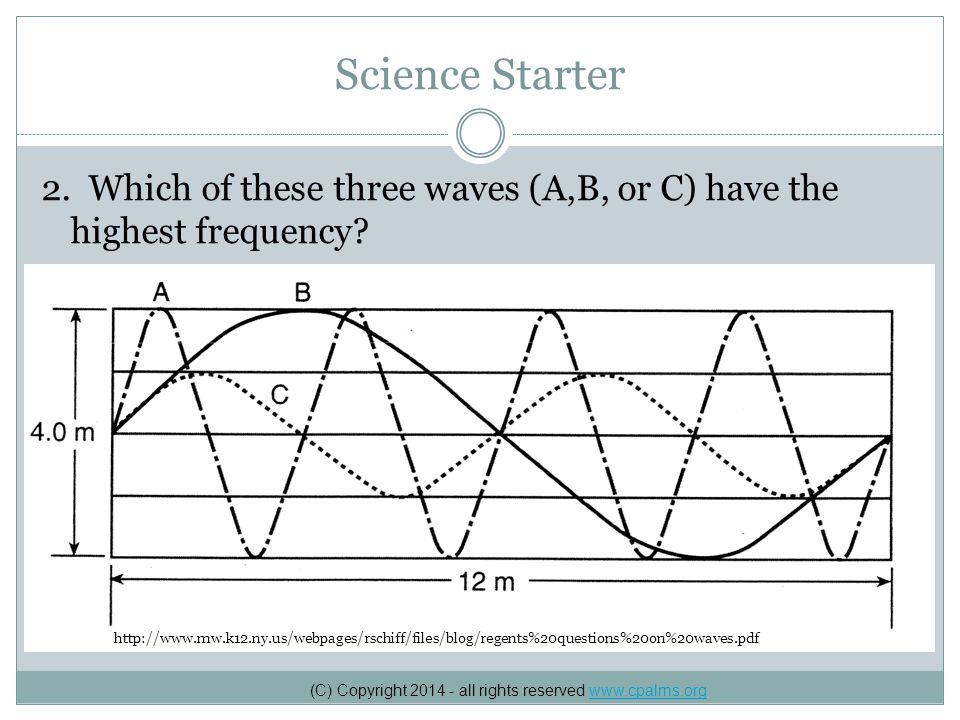 Science Starter 2.Which of these three waves (A,B, or C) have the highest frequency.
