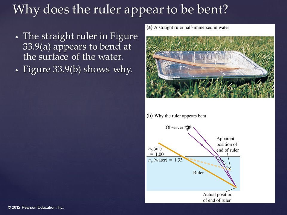 © 2012 Pearson Education, Inc.Why does the ruler appear to be bent.