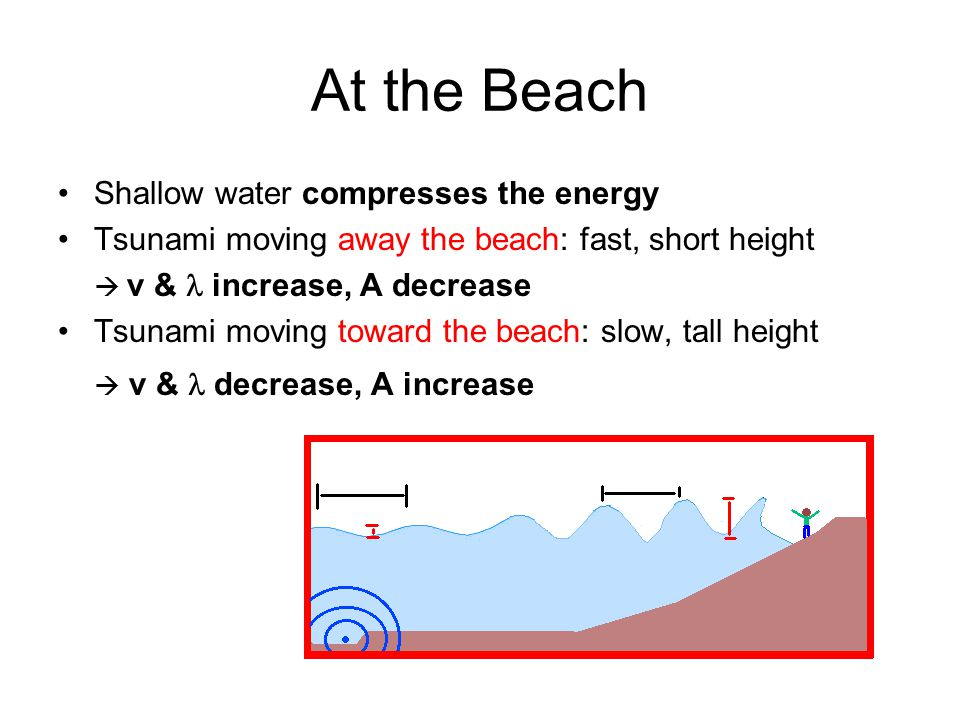 At the Beach Shallow water compresses the energy Tsunami moving away the beach: fast, short height  v & increase, A decrease Tsunami moving toward the beach: slow, tall height  v & decrease, A increase
