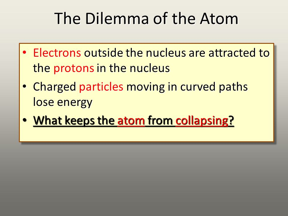 The Dilemma of the Atom Electrons outside the nucleus are attracted to the protons in the nucleus Electrons outside the nucleus are attracted to the protons in the nucleus Charged particles moving in curved paths lose energy Charged particles moving in curved paths lose energy What keeps the atom from collapsing.