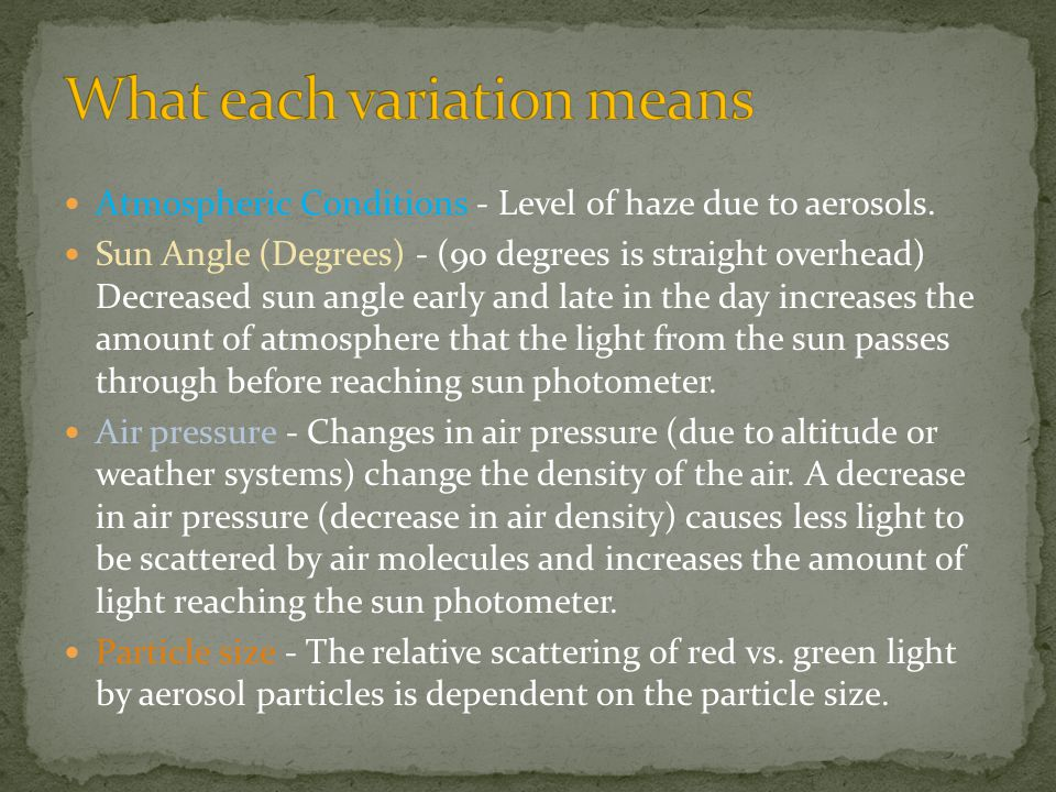 Atmospheric Conditions - Level of haze due to aerosols.