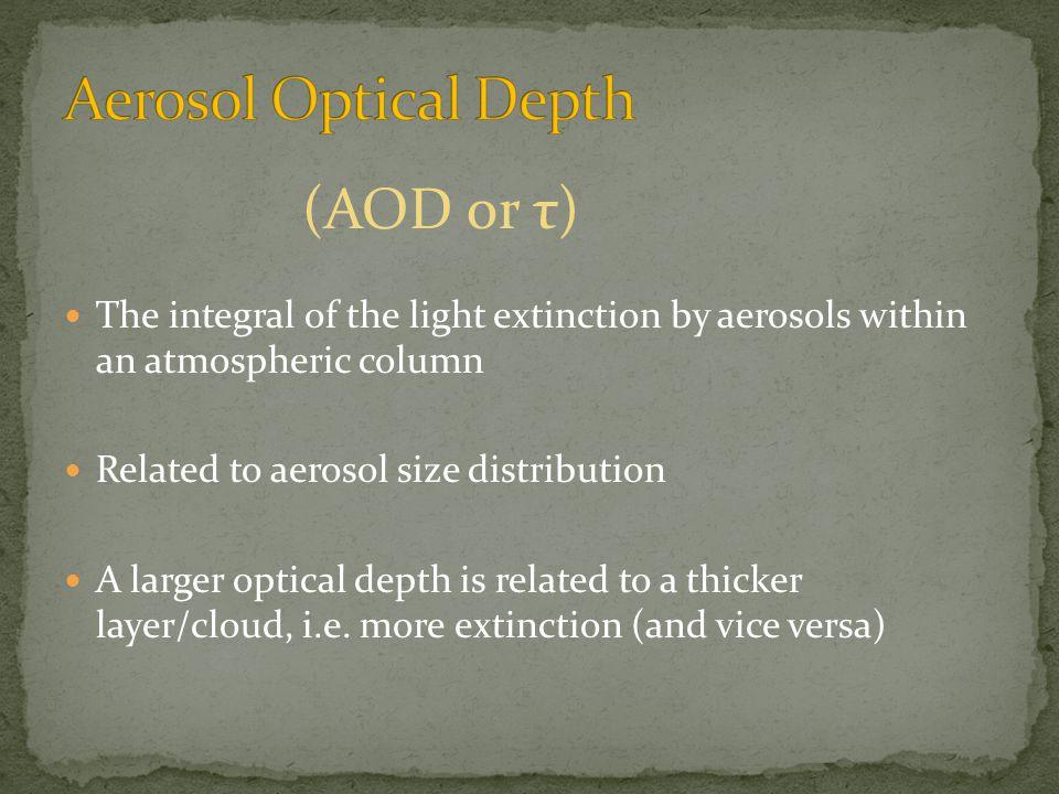 Aerosol Optical Depth (AOD) Sun photometer measurements of the direct solar radiation provide information to calculate the columnar aerosol optical depth (AOD).