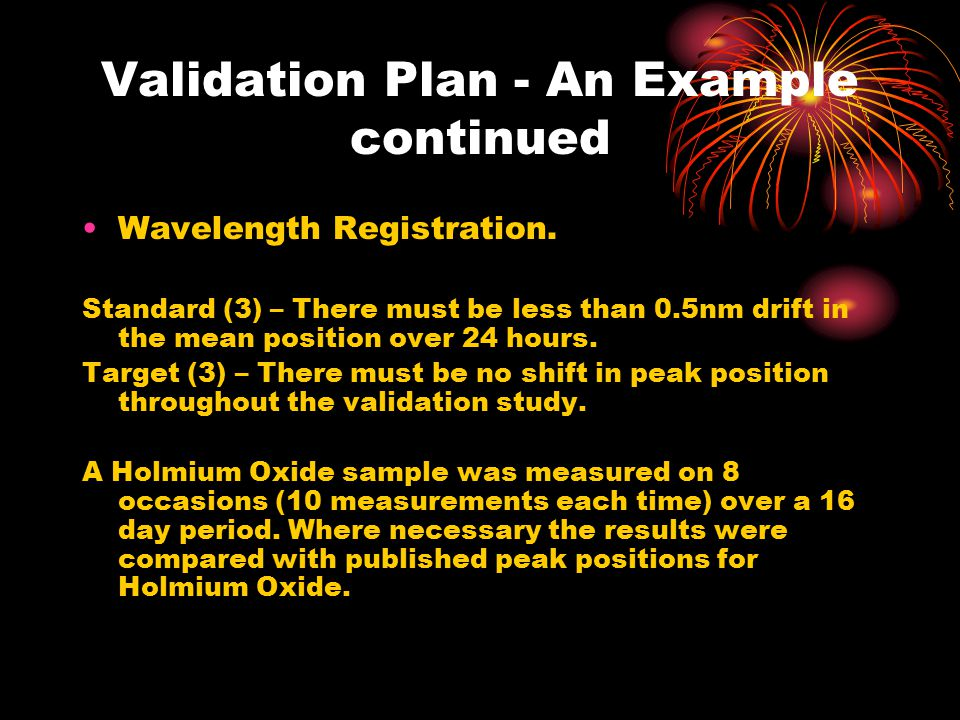 Validation Plan - An Example continued Wavelength Registration.