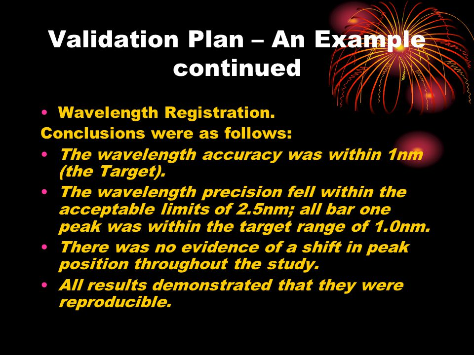 Validation Plan – An Example continued Wavelength Registration.