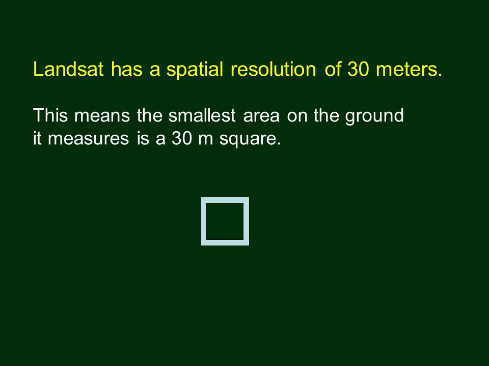 Landsat has a spatial resolution of 30 meters.