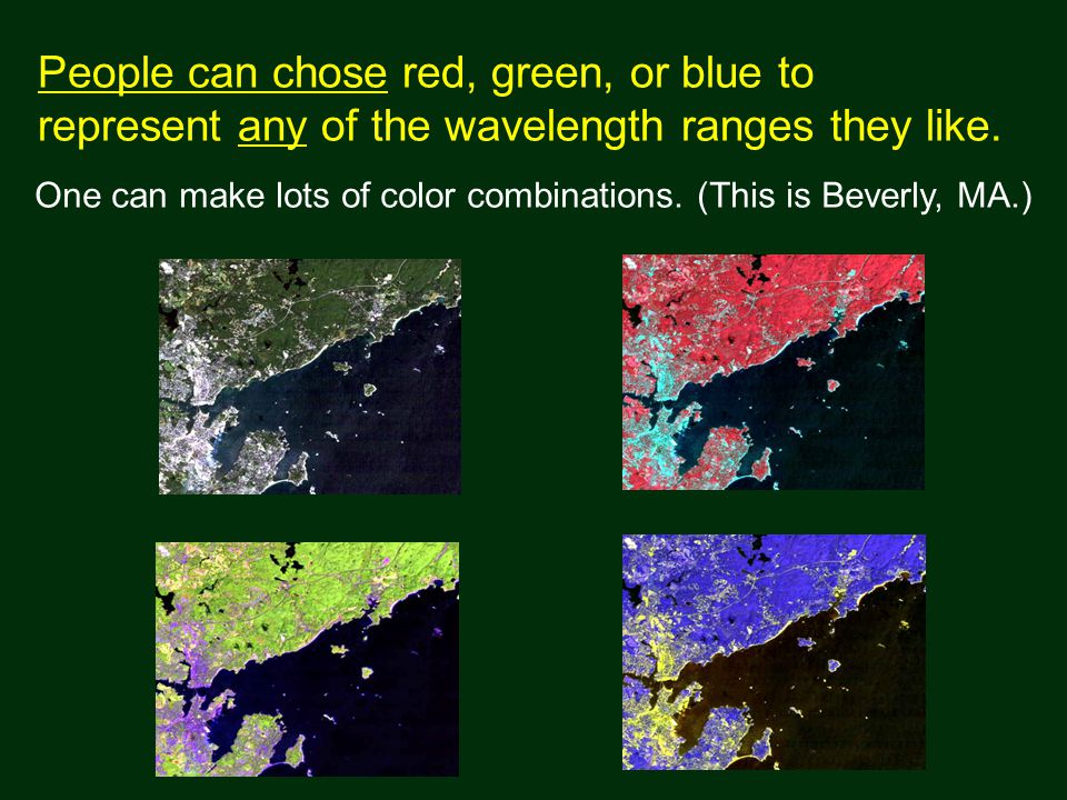 People can chose red, green, or blue to represent any of the wavelength ranges they like.
