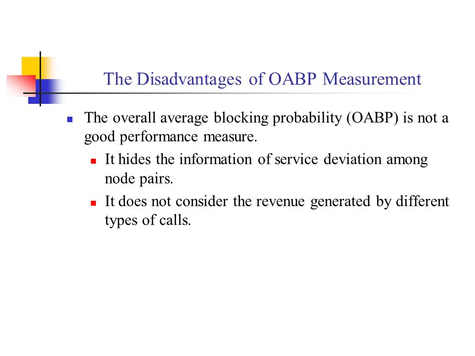 The Disadvantages of OABP Measurement The overall average blocking probability (OABP) is not a good performance measure.