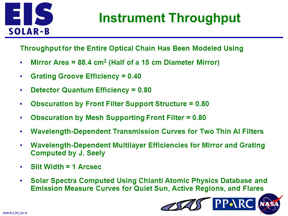 990901EIS_RR_Opt.34 Instrument Throughput Throughput for the Entire Optical Chain Has Been Modeled Using Mirror Area = 88.4 cm 2 (Half of a 15 cm Diameter Mirror) Grating Groove Efficiency = 0.40 Detector Quantum Efficiency = 0.80 Obscuration by Front Filter Support Structure = 0.80 Obscuration by Mesh Supporting Front Filter = 0.80 Wavelength-Dependent Transmission Curves for Two Thin Al Filters Wavelength-Dependent Multilayer Efficiencies for Mirror and Grating Computed by J.