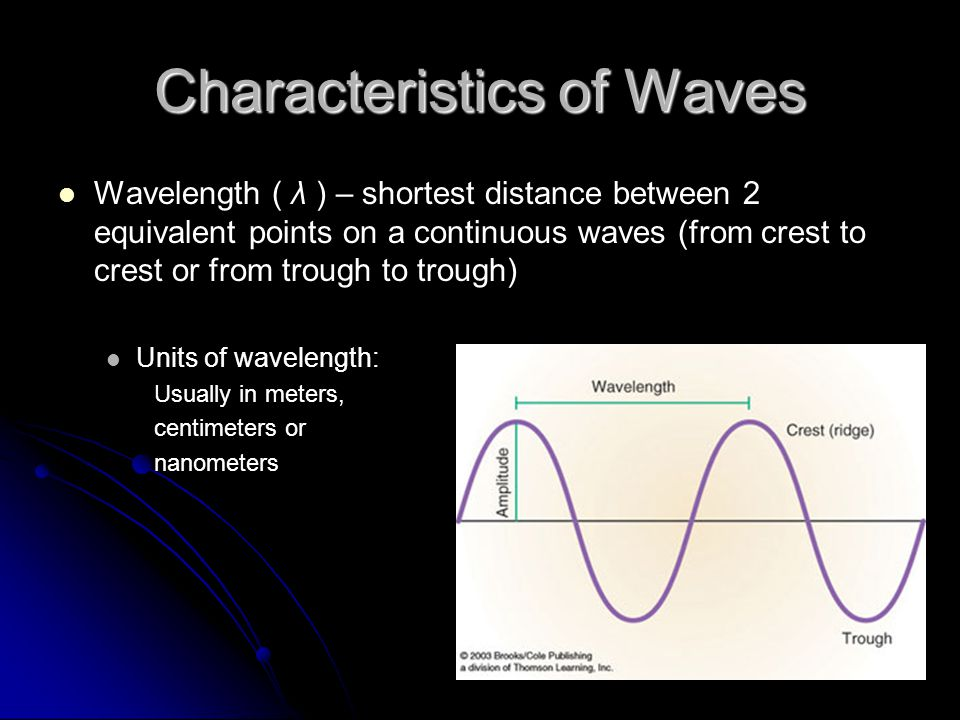 Characteristics of Waves Wavelength ( λ ) – shortest distance between 2 equivalent points on a continuous waves (from crest to crest or from trough to