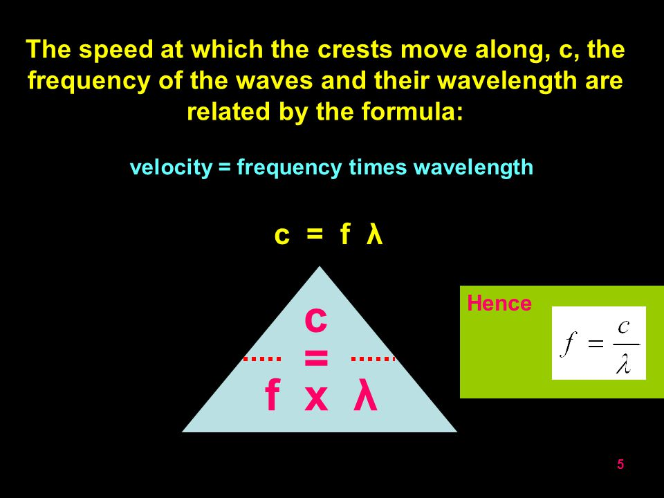 4 THE FREQUENCY OF A WAVE IS THE NUMBER OF WAVES EMITTED PER SECOND Frequency, f, is measured in HERTZHz