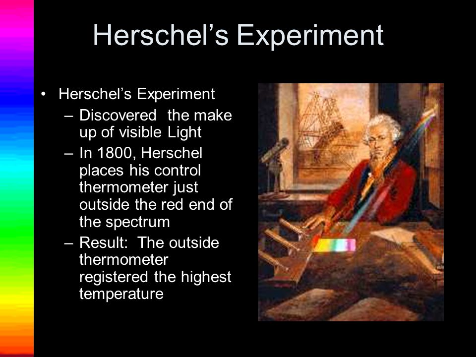 Herschel's Experiment –Discovered the make up of visible Light –In 1800, Herschel places his control thermometer just outside the red end of the spectrum –Result: The outside thermometer registered the highest temperature
