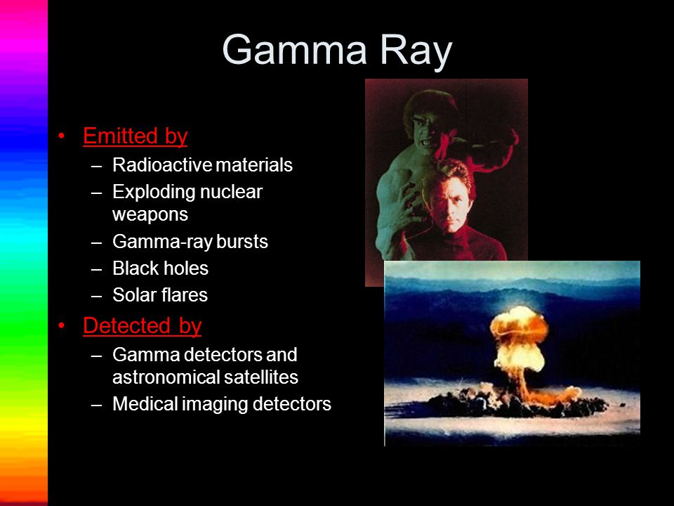 Gamma Ray Emitted by –Radioactive materials –Exploding nuclear weapons –Gamma-ray bursts –Black holes –Solar flares Detected by –Gamma detectors and astronomical satellites –Medical imaging detectors