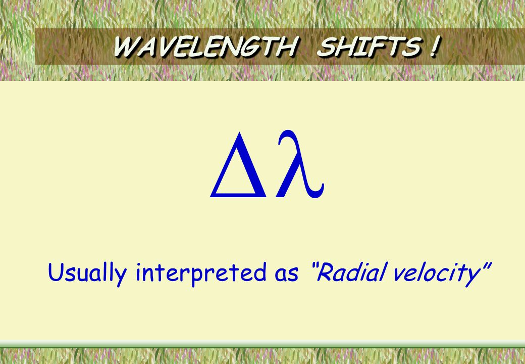 WAVELENGTH SHIFTS IN SOLAR-TYPE SPECTRA  .