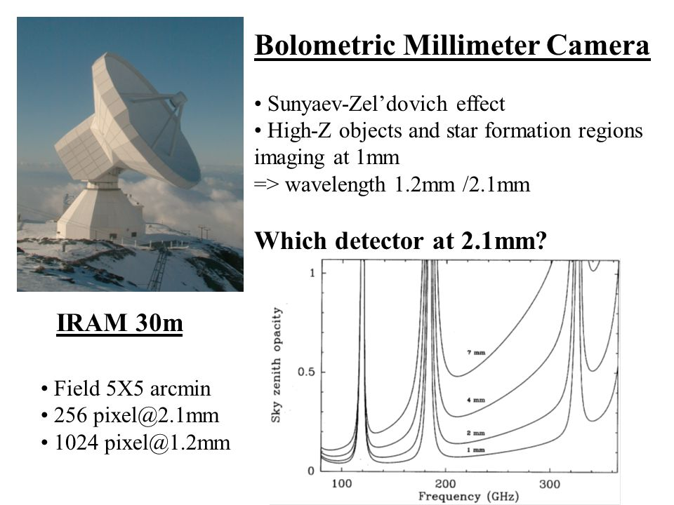 Bolometric Millimeter Camera Sunyaev-Zel'dovich effect High-Z objects and star formation regions imaging at 1mm => wavelength 1.2mm /2.1mm Which detector at 2.1mm.