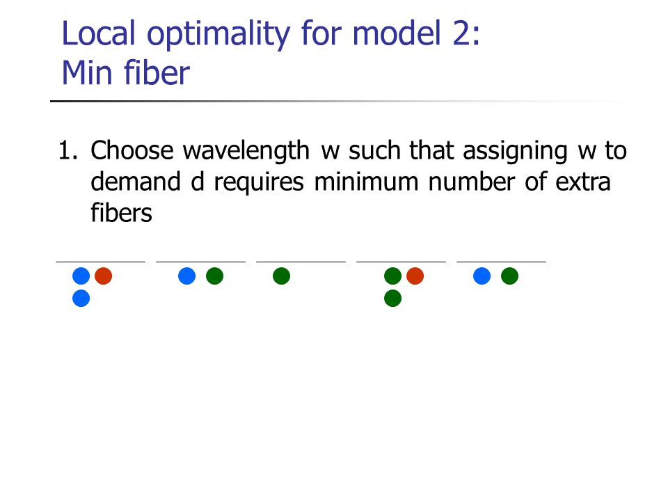 Local optimality for model 2: Min fiber 1.Choose wavelength w such that assigning w to demand d requires minimum number of extra fibers