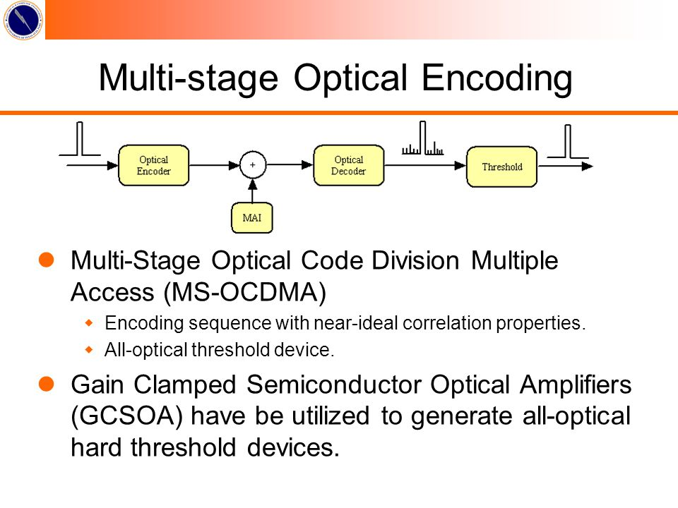Multi-stage Optical Encoding lMulti-Stage Optical Code Division Multiple Access (MS-OCDMA) wEncoding sequence with near-ideal correlation properties.