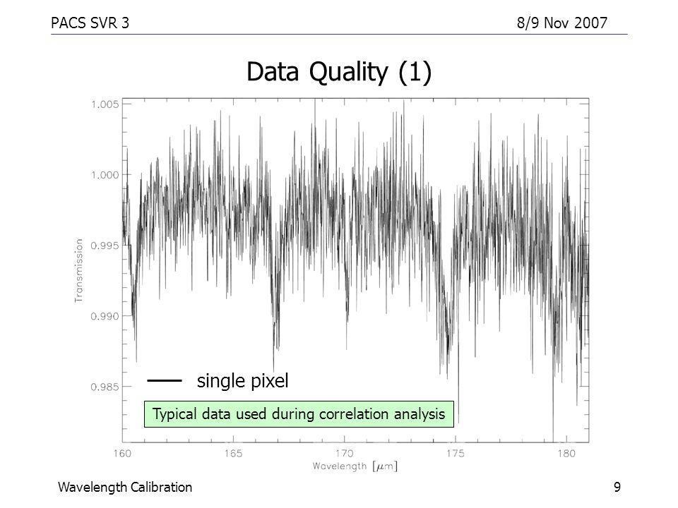 PACS SVR 38/9 Nov 2007 Wavelength Calibration10 Data Quality (2) single pixel rebinned module