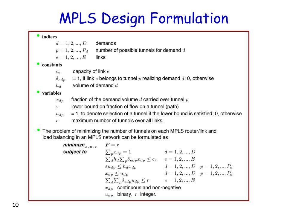 10 MPLS Design Formulation