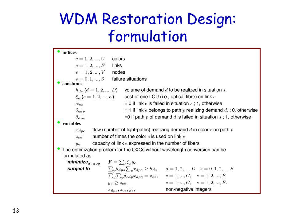 13 WDM Restoration Design: formulation